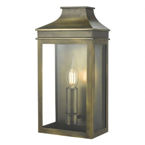 Vapour 1 Light Coach Lantern Weathered Brass IP44  VAP5245
